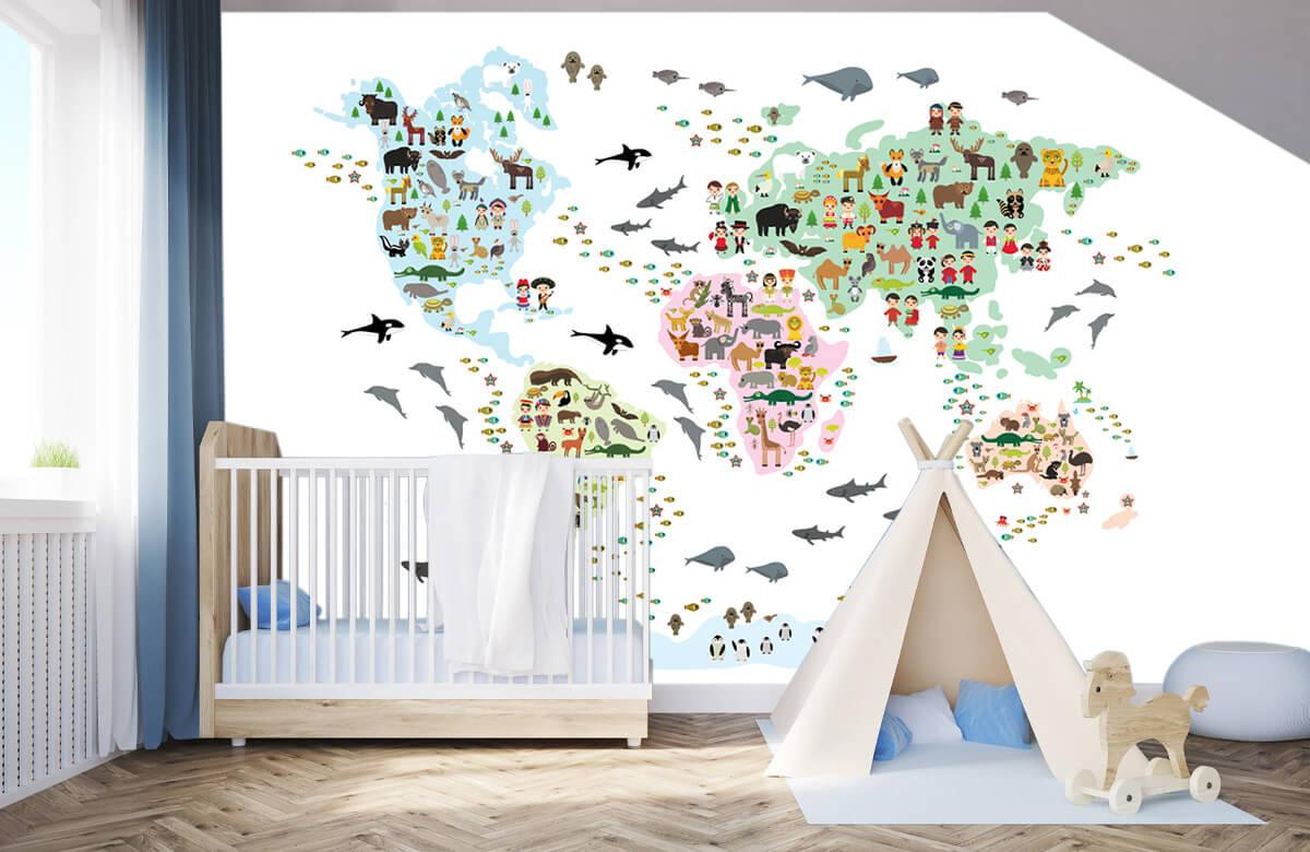 Wereldkaart behang - Dieren kaart - Kinderkamer 3
