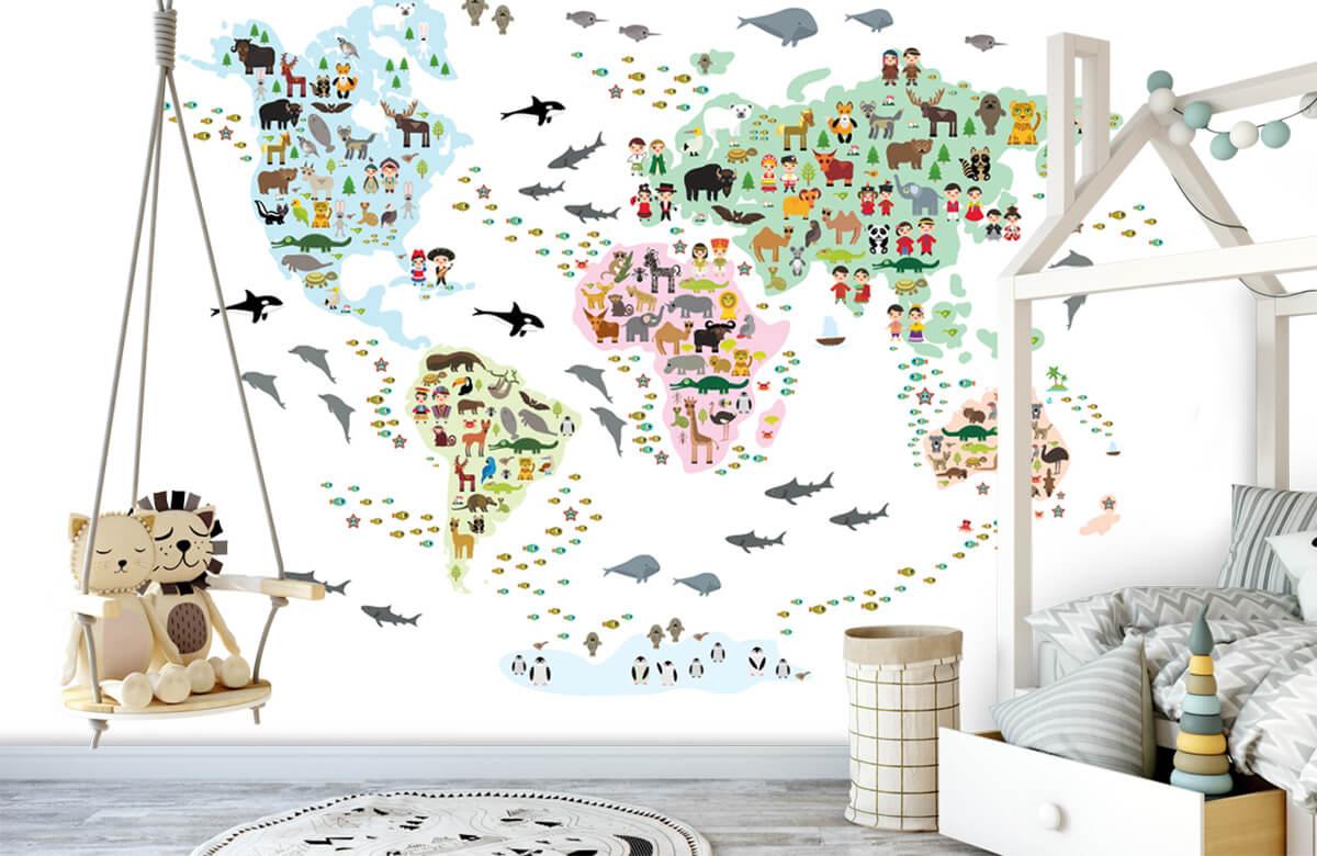 Wereldkaart behang - Dieren kaart - Kinderkamer 4