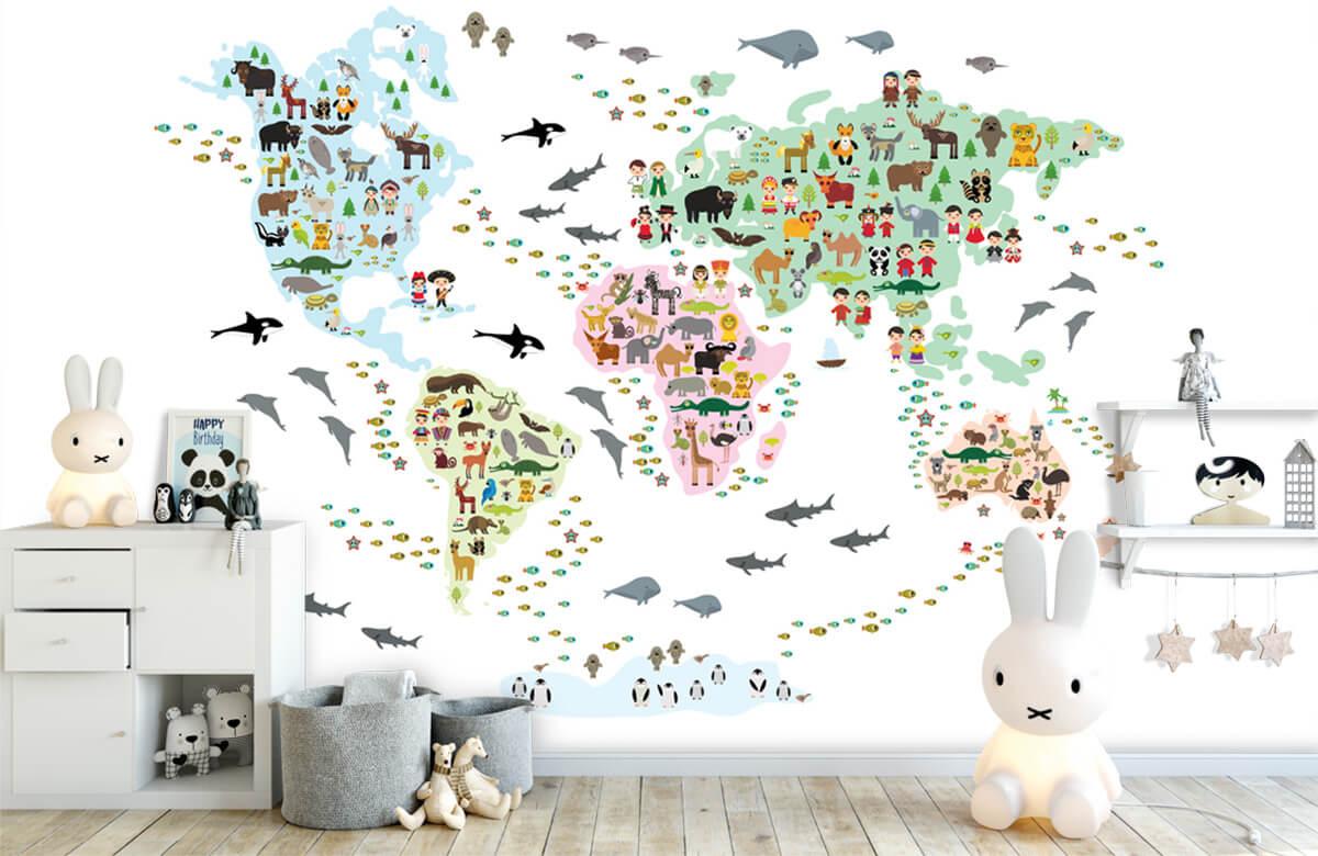 Wereldkaart behang - Dieren kaart - Kinderkamer 1