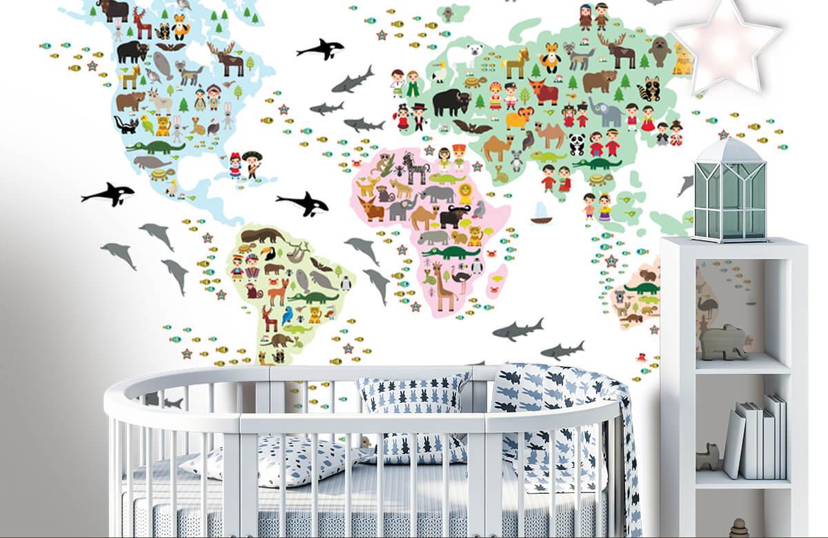 Wereldkaart behang - Dieren kaart - Kinderkamer 5