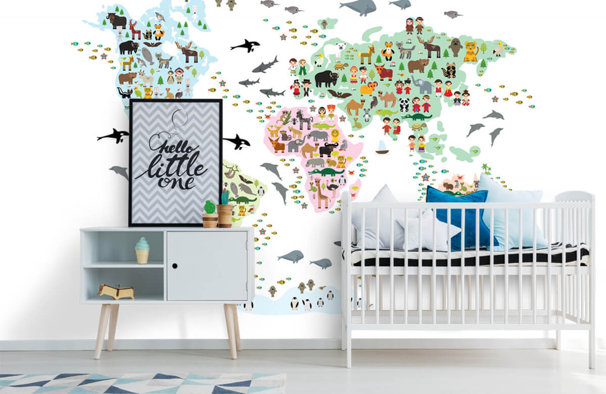 Wereldkaart behang - Dieren kaart - Kinderkamer 6