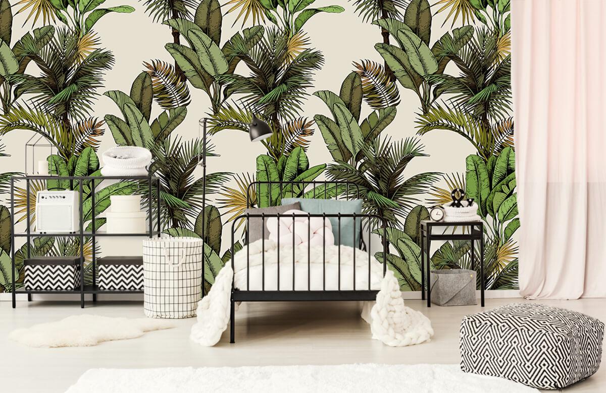 Jungle - Tropische palm- en bananenbladeren - Slaapkamer 1