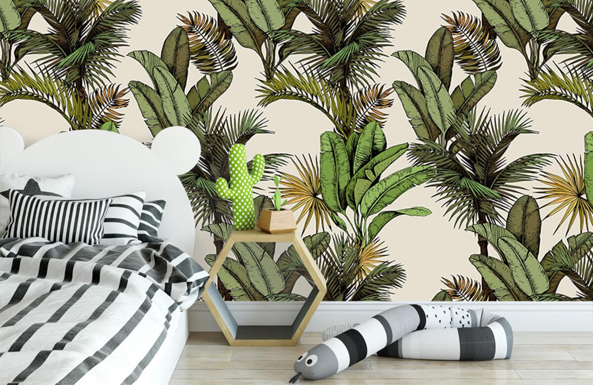 Jungle - Tropische palm- en bananenbladeren - Slaapkamer 2