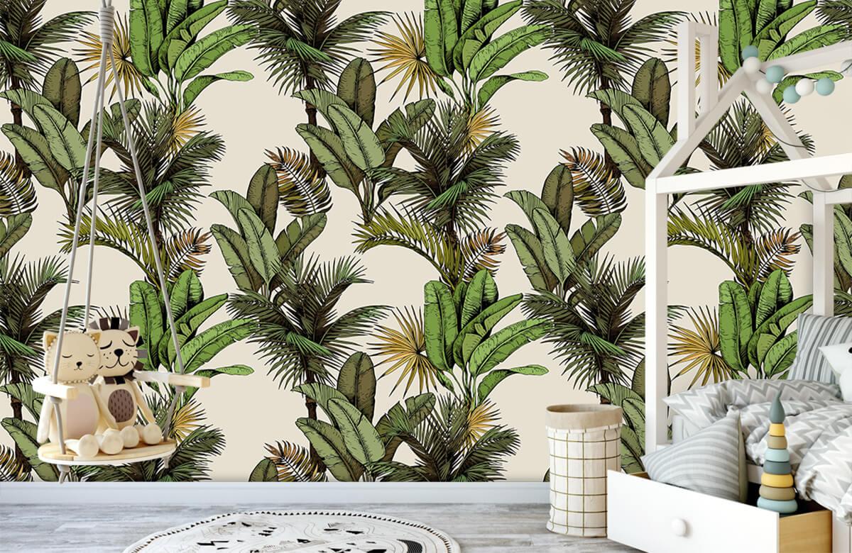 Jungle - Tropische palm- en bananenbladeren - Slaapkamer 3