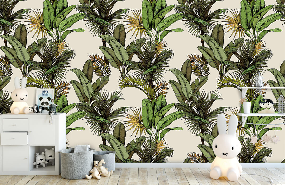 Jungle - Tropische palm- en bananenbladeren - Slaapkamer 4