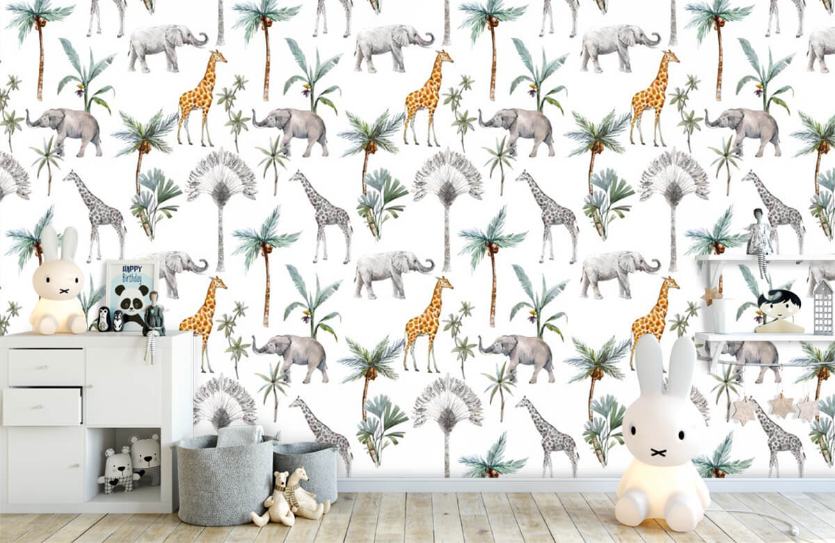 Kinderbehang - Jungle dieren - Kinderkamer 1