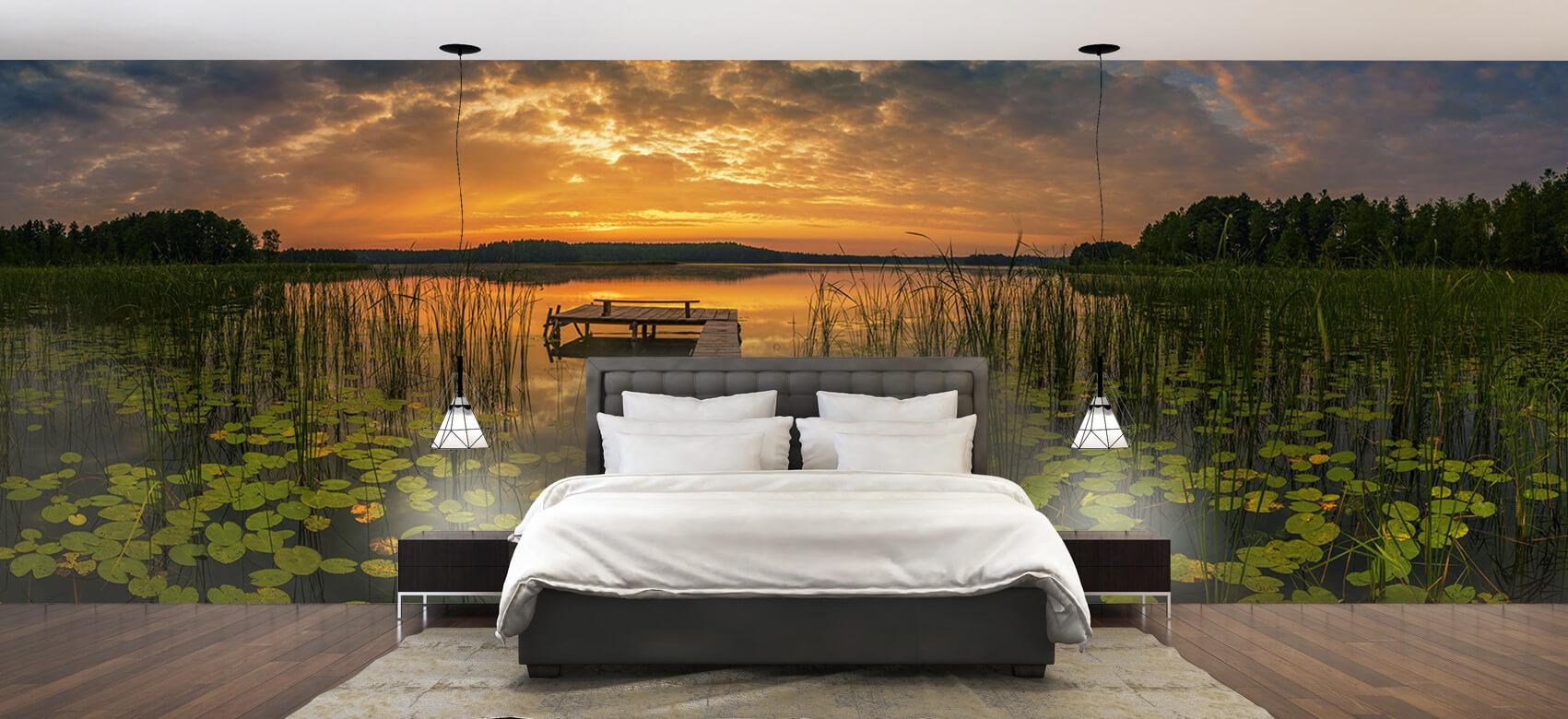 Houten Steigers - Zonsopgang aan het meer - Woonkamer 2