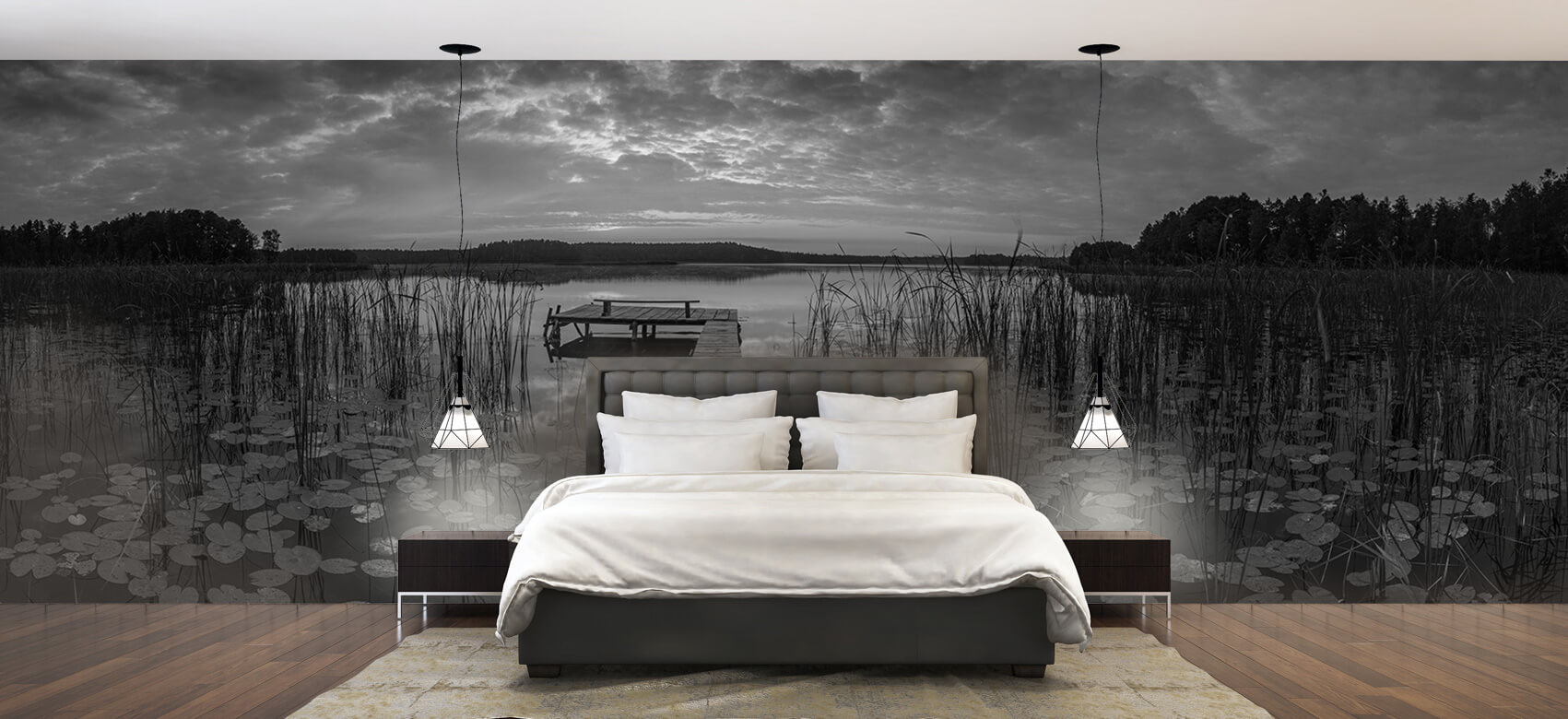 Houten Steigers - Zonsopgang aan het meer - Woonkamer 3