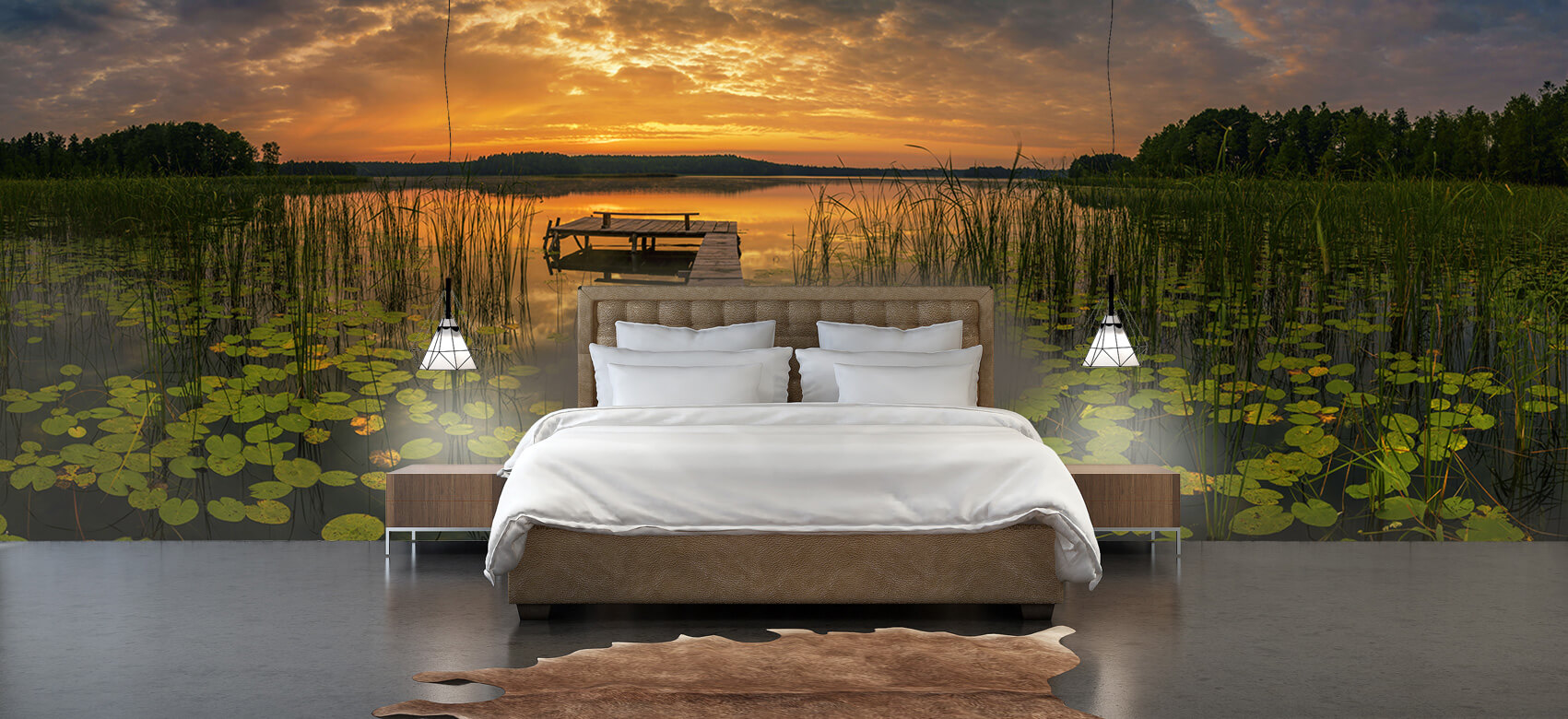 Houten Steigers - Zonsopgang aan het meer - Woonkamer 4