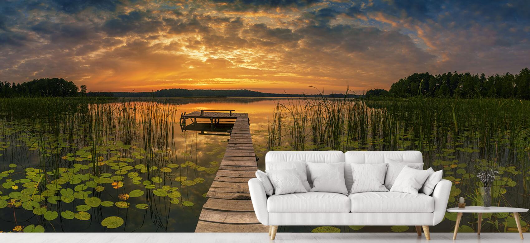 Houten Steigers - Zonsopgang aan het meer - Woonkamer 6