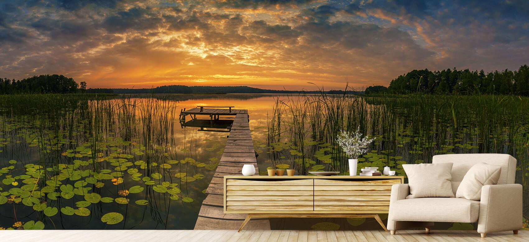 Houten Steigers - Zonsopgang aan het meer - Woonkamer 7