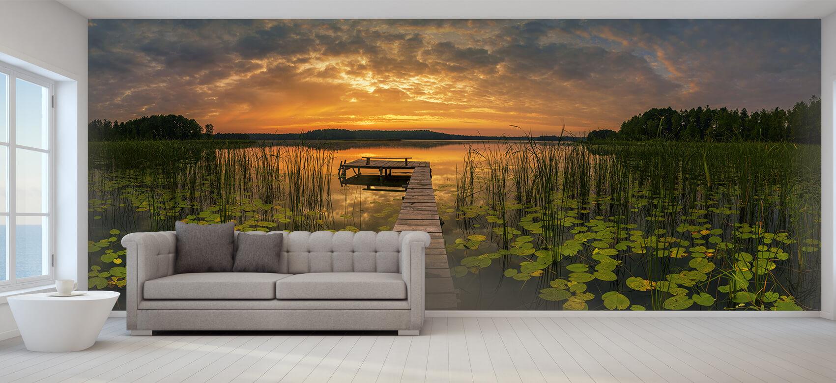 Houten Steigers - Zonsopgang aan het meer - Woonkamer 1