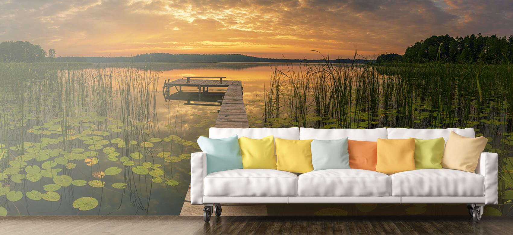 Houten Steigers - Zonsopgang aan het meer - Woonkamer 10