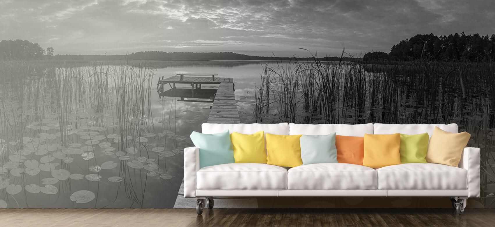 Houten Steigers - Zonsopgang aan het meer - Woonkamer 11