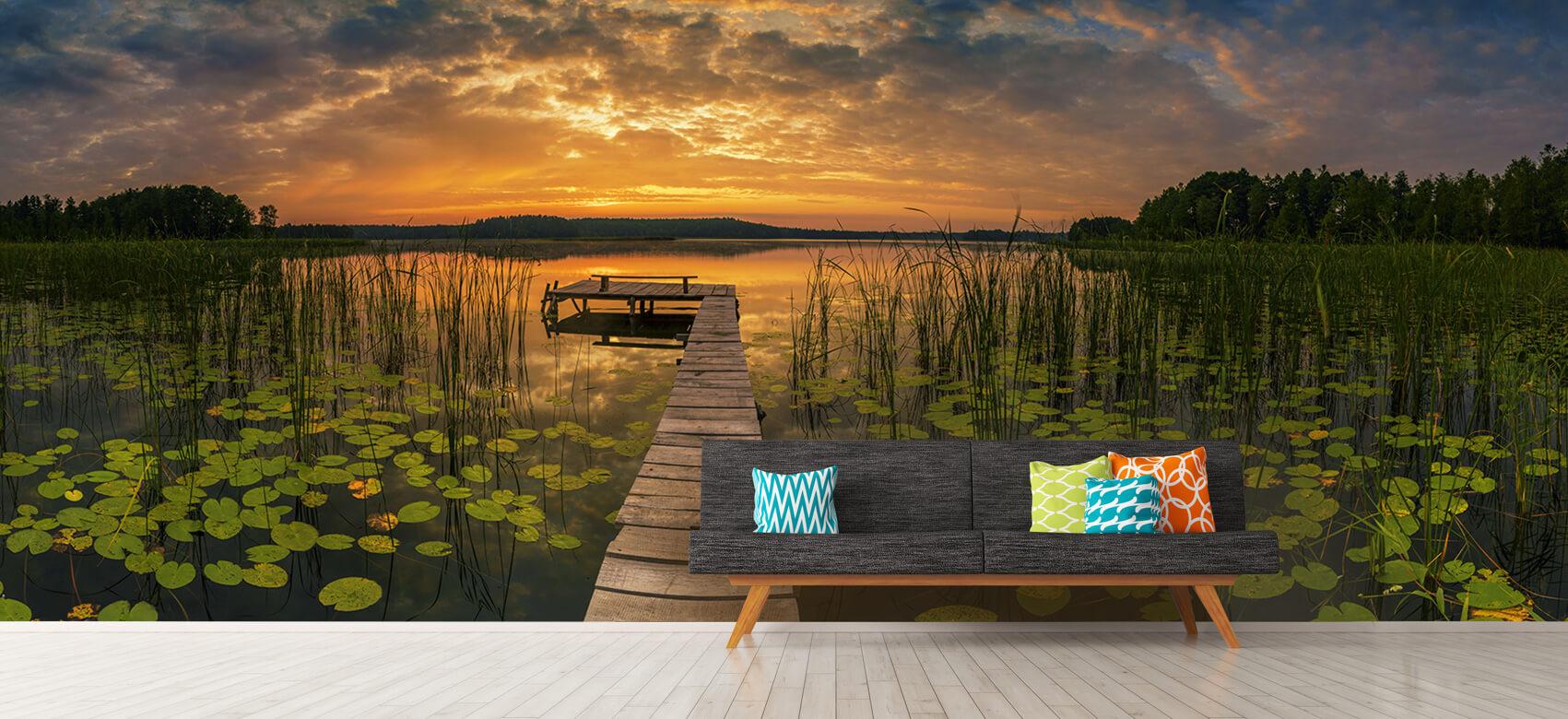 Houten Steigers - Zonsopgang aan het meer - Woonkamer 12