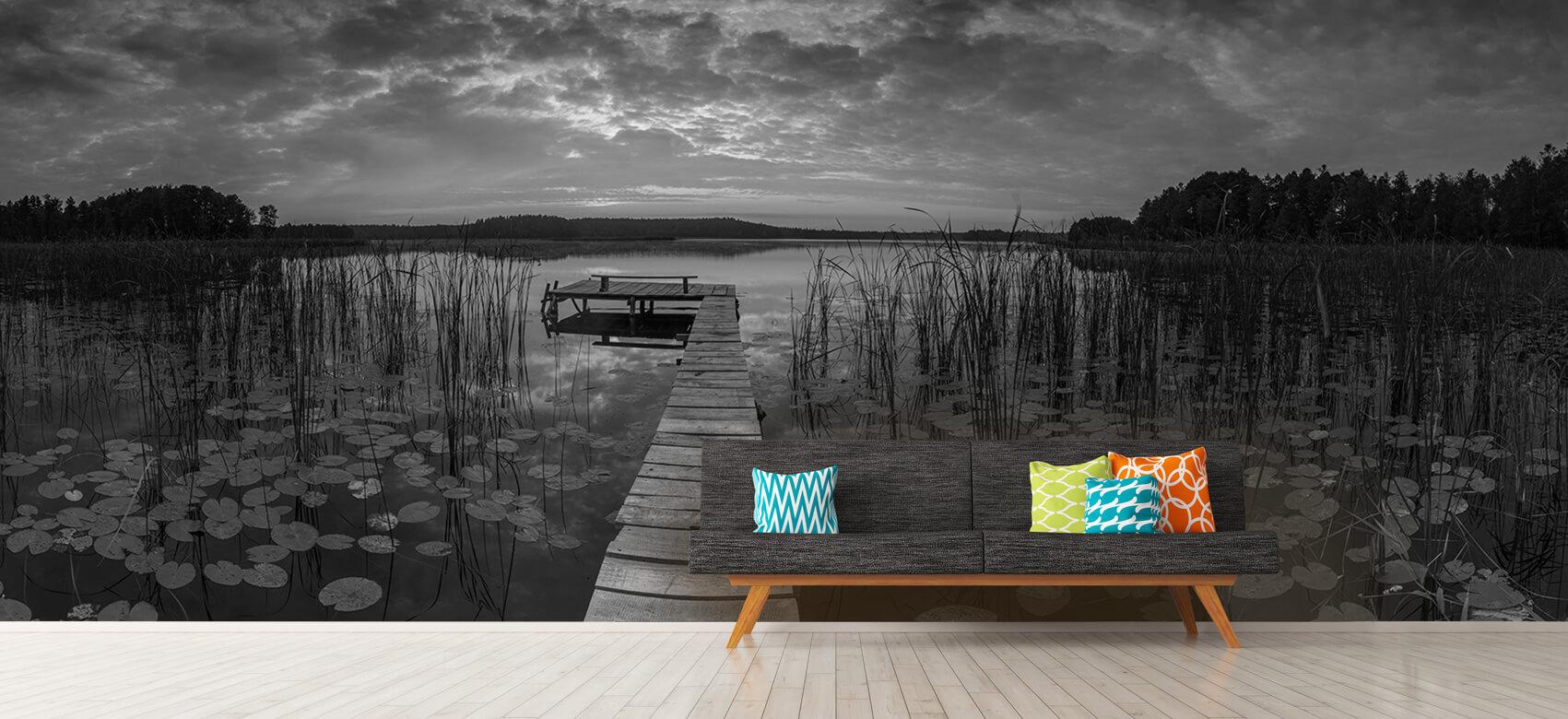 Houten Steigers - Zonsopgang aan het meer - Woonkamer 13