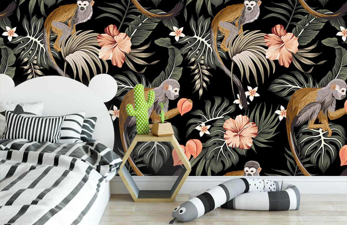 Jungle - Tropische bladeren met aapjes - Tienerkamer 2