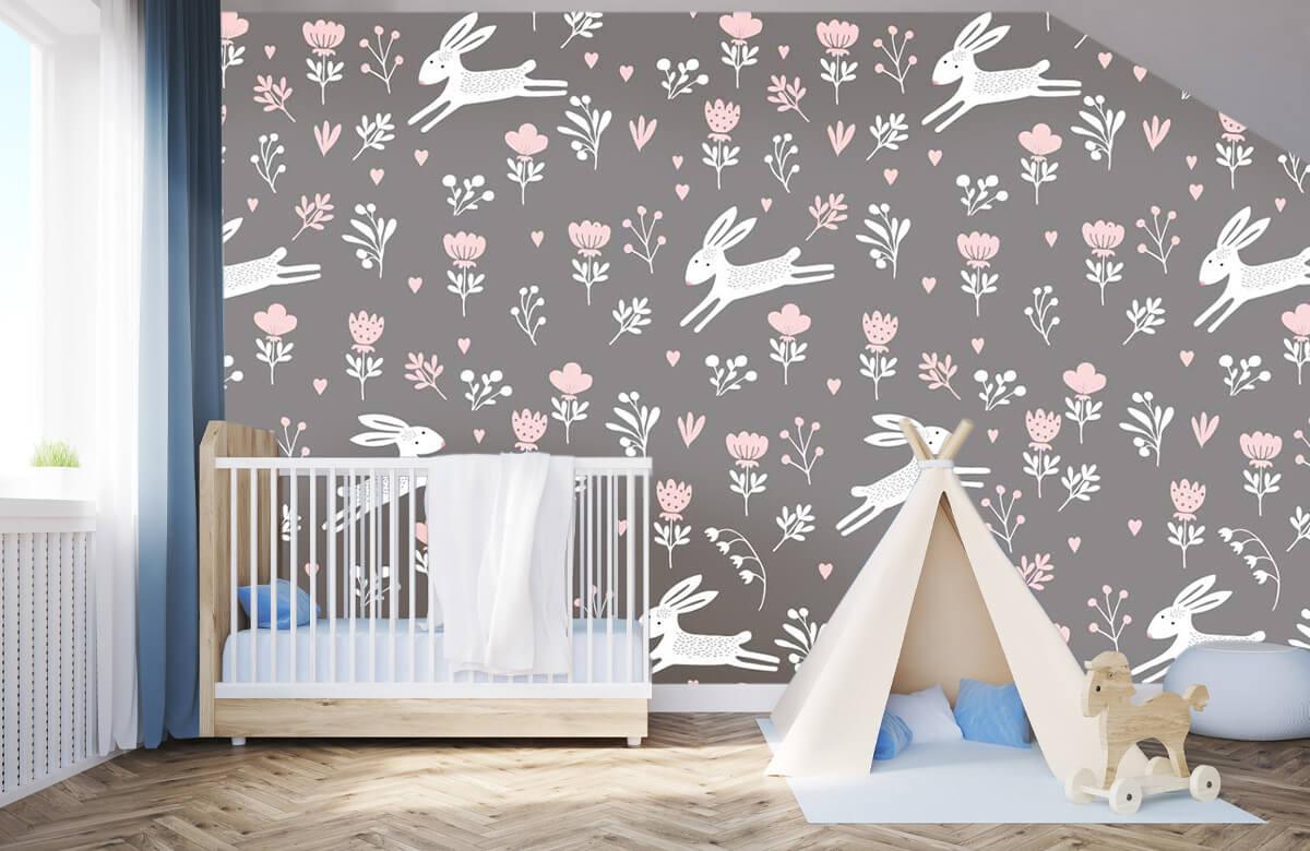 Kinderbehang - Konijntjes en bloemen - Kinderkamer 3