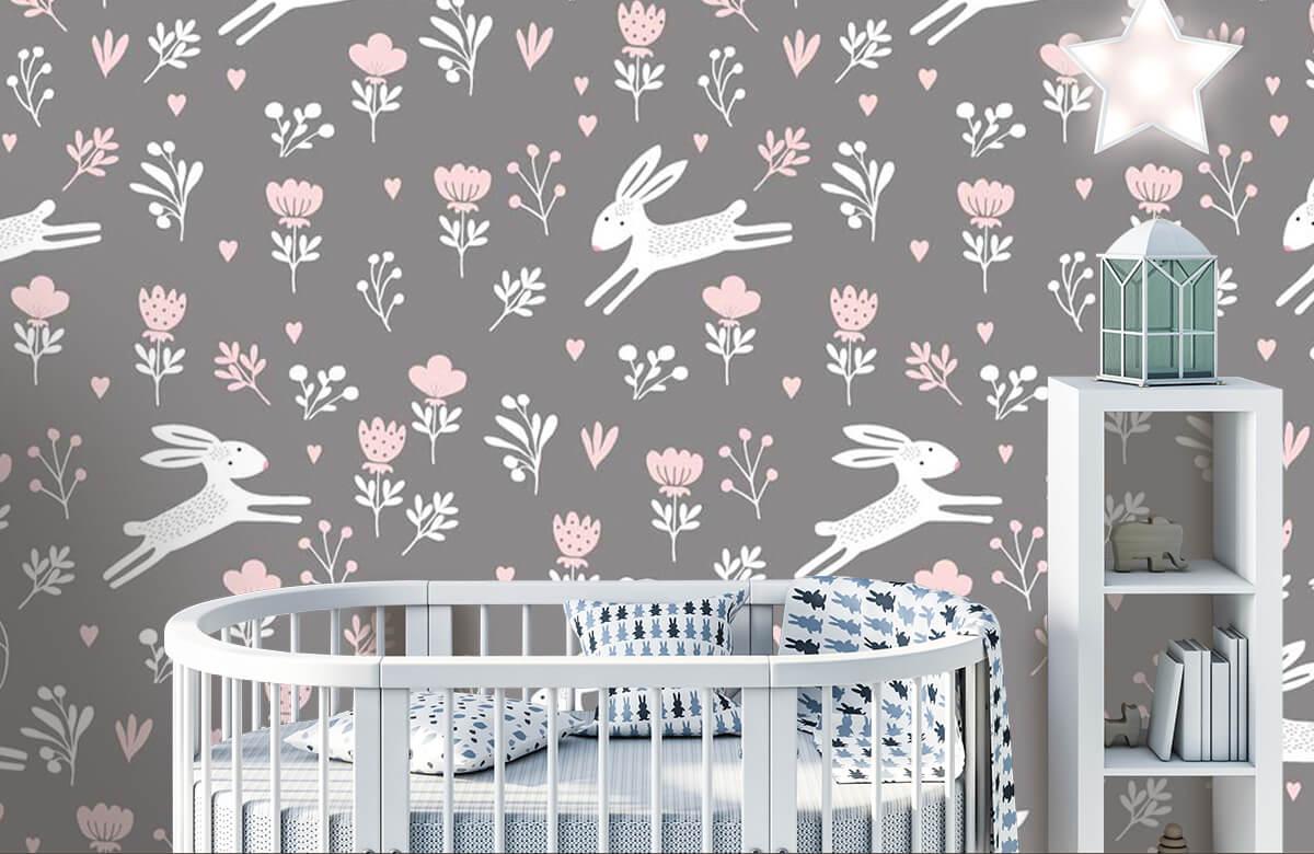 Kinderbehang - Konijntjes en bloemen - Kinderkamer 2