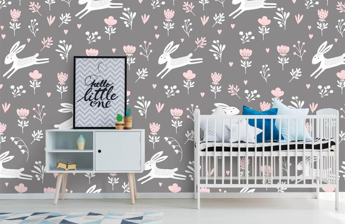 Kinderbehang - Konijntjes en bloemen - Kinderkamer 6