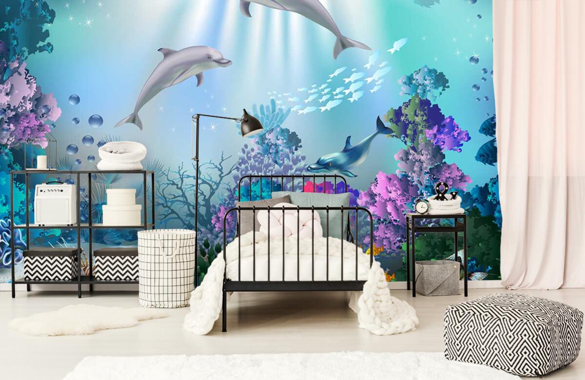 Zeedieren - Onderwaterwereld met dolfijnen - Kinderkamer 2
