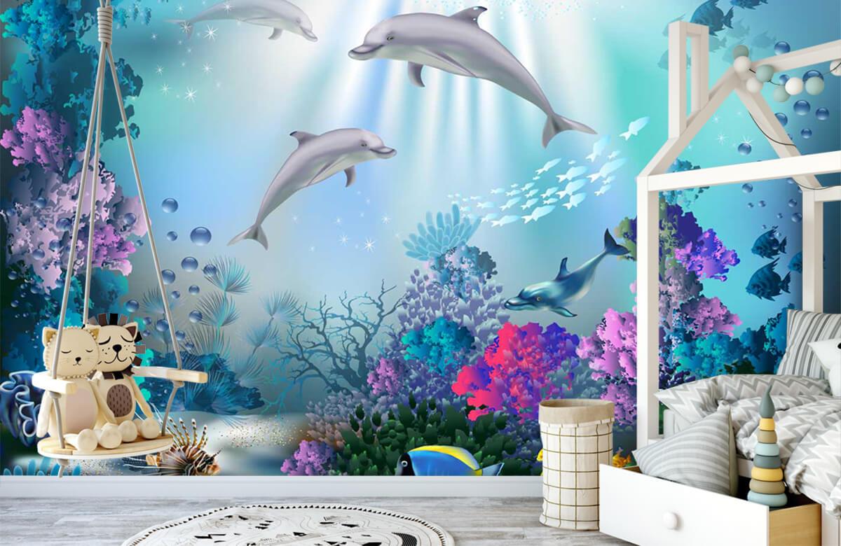 Zeedieren - Onderwaterwereld met dolfijnen - Kinderkamer 4