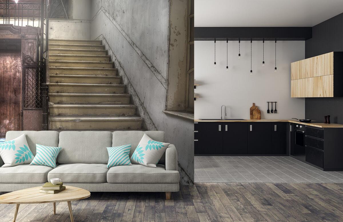 Gebouwen - Verlaten houten kooilift - Woonkamer 5