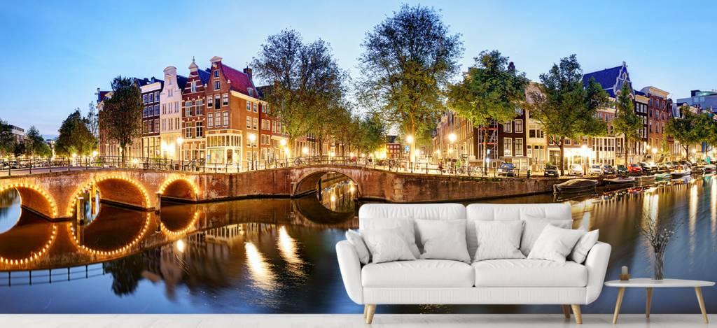 Steden behang - Amsterdam bij nacht - Woonkamer 1