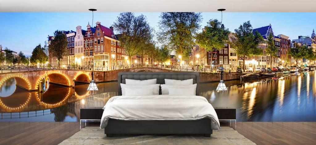 Steden behang - Amsterdam bij nacht - Woonkamer 2