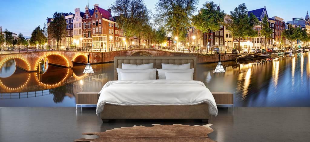 Steden behang - Amsterdam bij nacht - Woonkamer 3