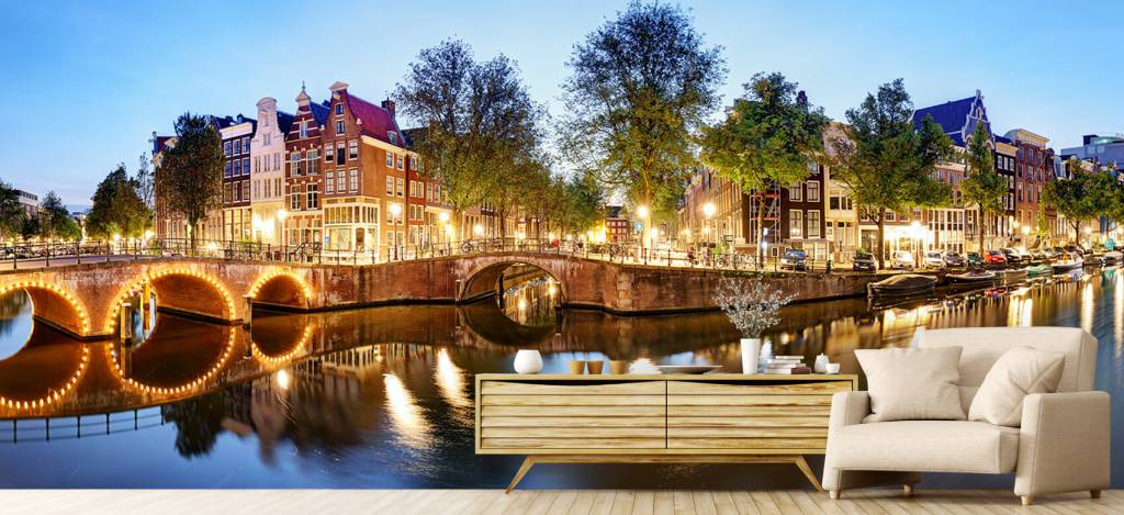 Steden behang - Amsterdam bij nacht - Woonkamer 4