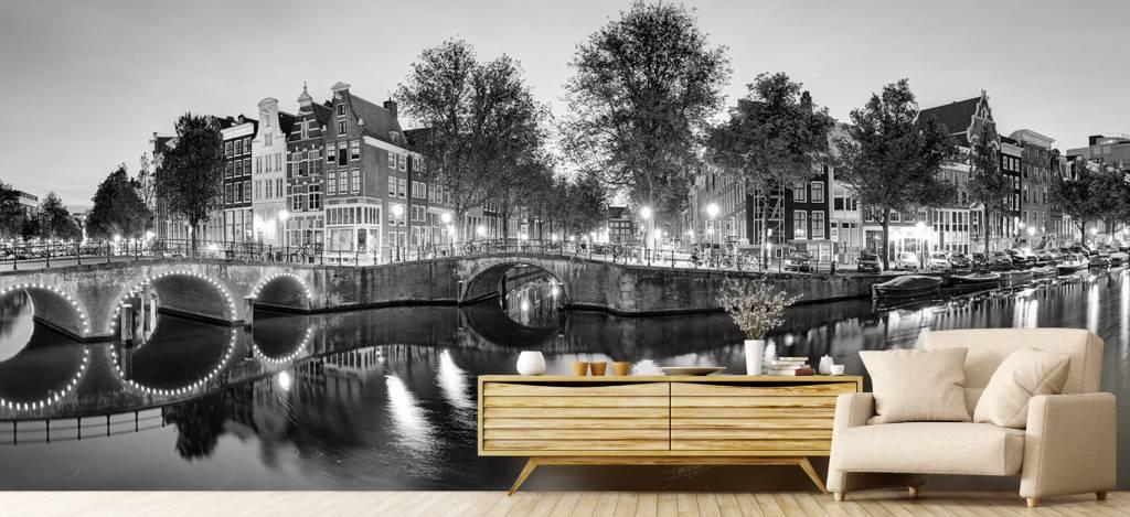 Steden behang - Amsterdam bij nacht - Woonkamer 5