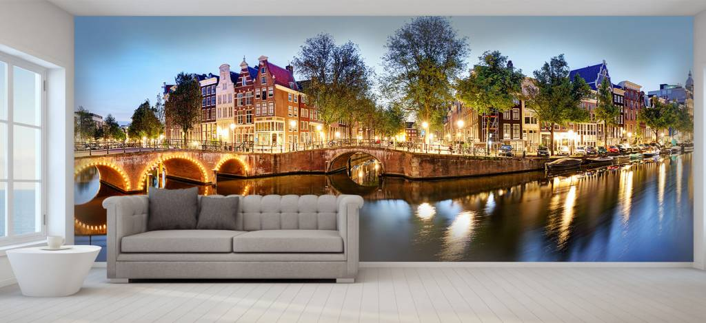 Steden behang - Amsterdam bij nacht - Woonkamer 6