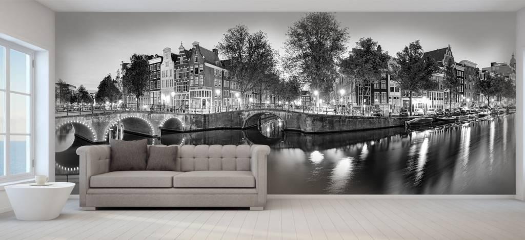 Steden behang - Amsterdam bij nacht - Woonkamer 7