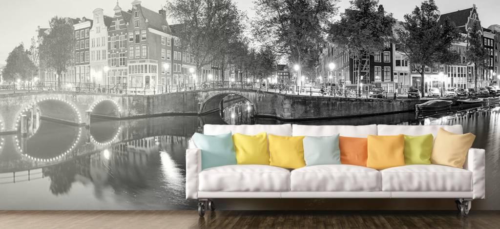 Steden behang - Amsterdam bij nacht - Woonkamer 8