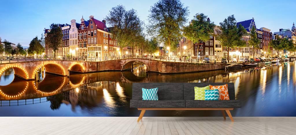 Steden behang - Amsterdam bij nacht - Woonkamer 9