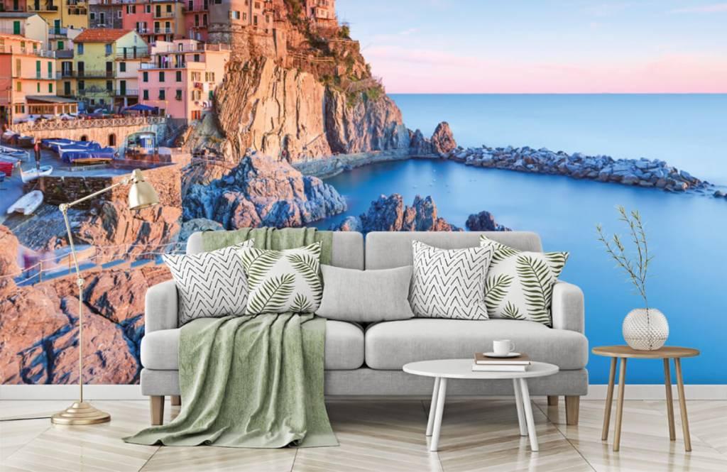 Steden behang - Dorp op een rots in Italië - Slaapkamer 7
