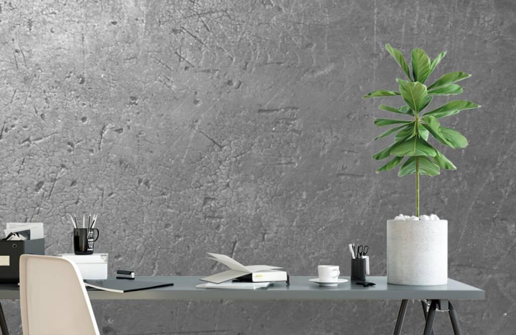 Betonlook behang - Grijze betonwand - Tienerkamer 1