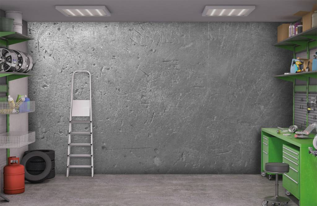 Betonlook behang - Grijze betonwand - Tienerkamer 9