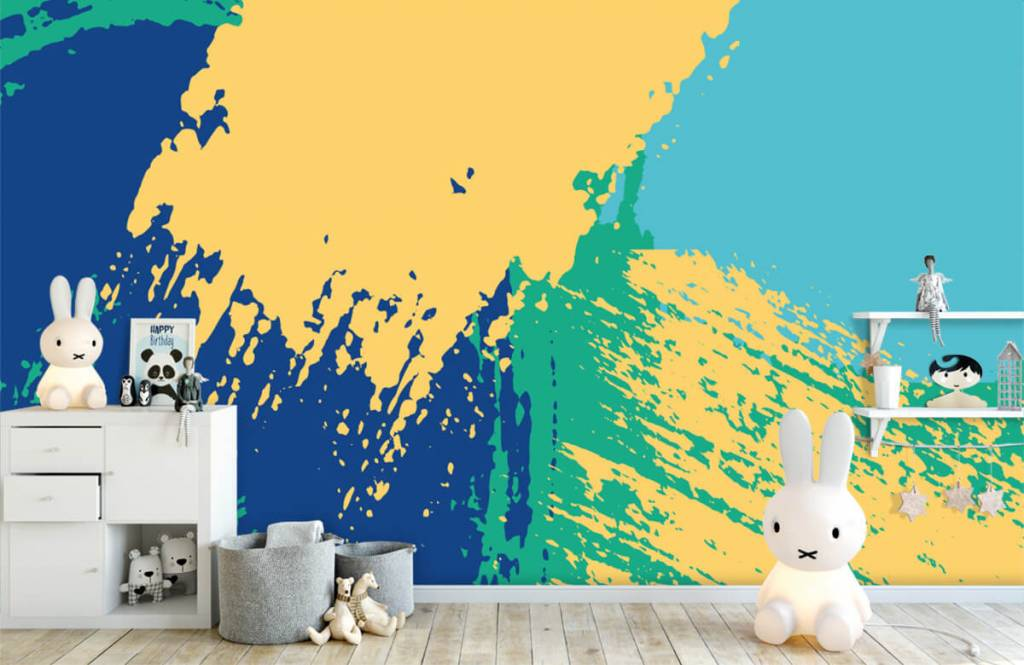 Abstract behang - Abstracte vlakken in kleur - Hobbykamer 4
