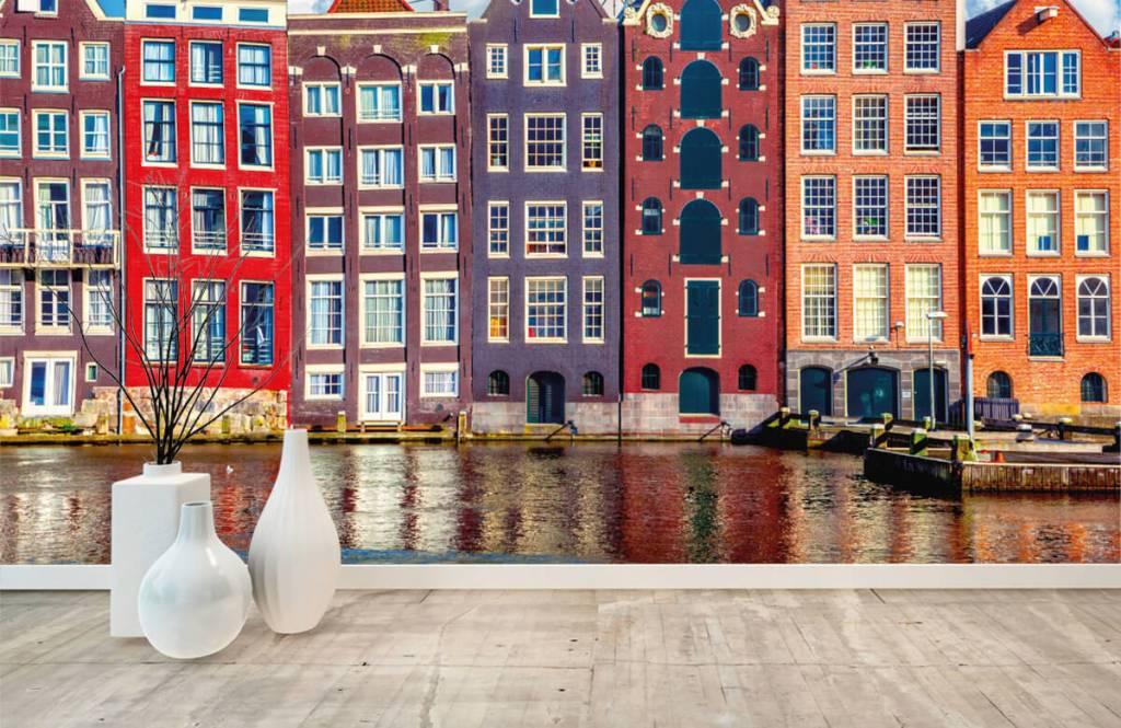 Steden behang - Amsterdamse huizen - Slaapkamer 1