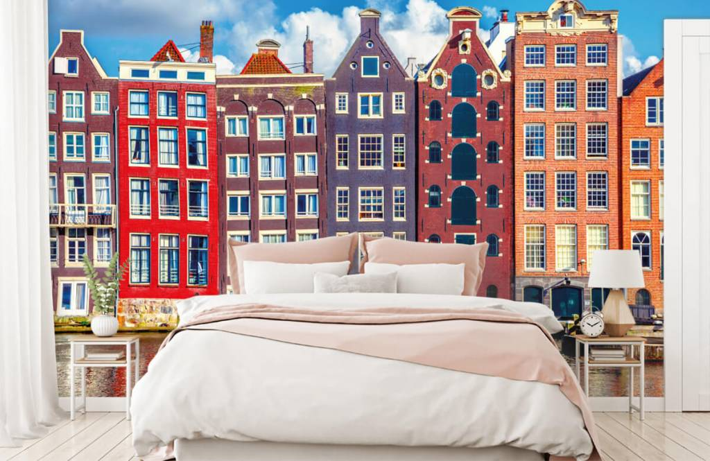 Steden behang - Amsterdamse huizen - Slaapkamer 2