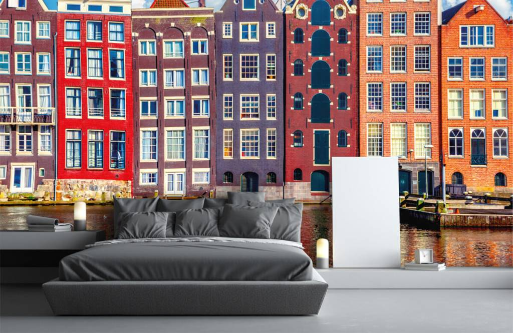 Steden behang - Amsterdamse huizen - Slaapkamer 3
