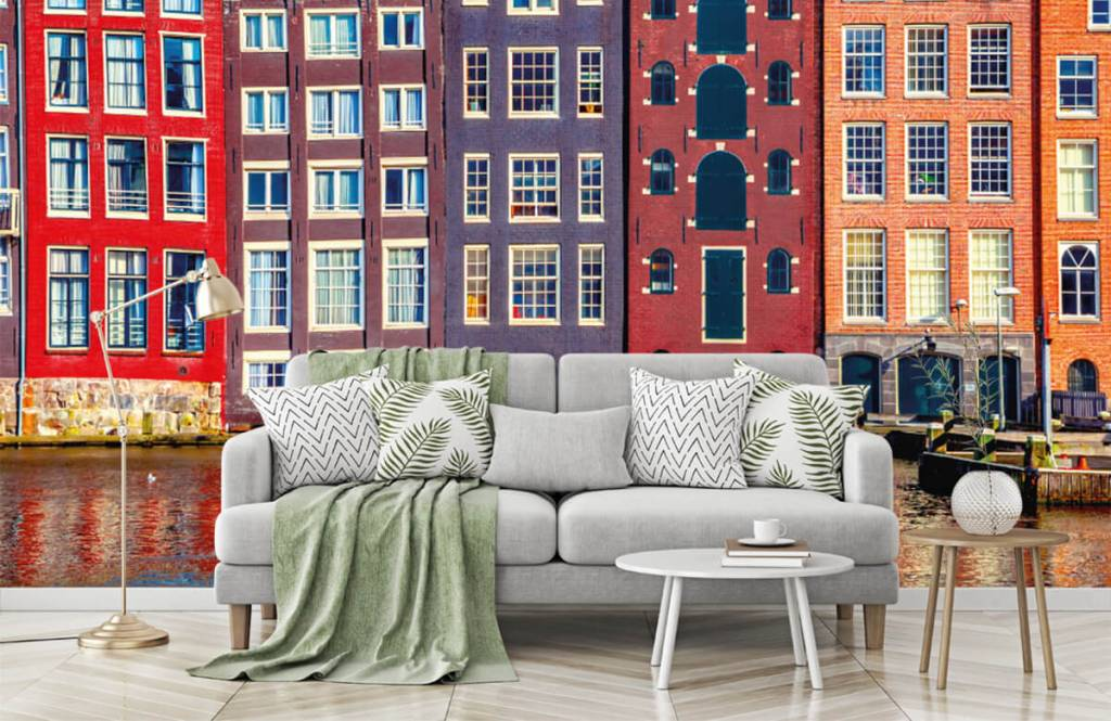 Steden behang - Amsterdamse huizen - Slaapkamer 8