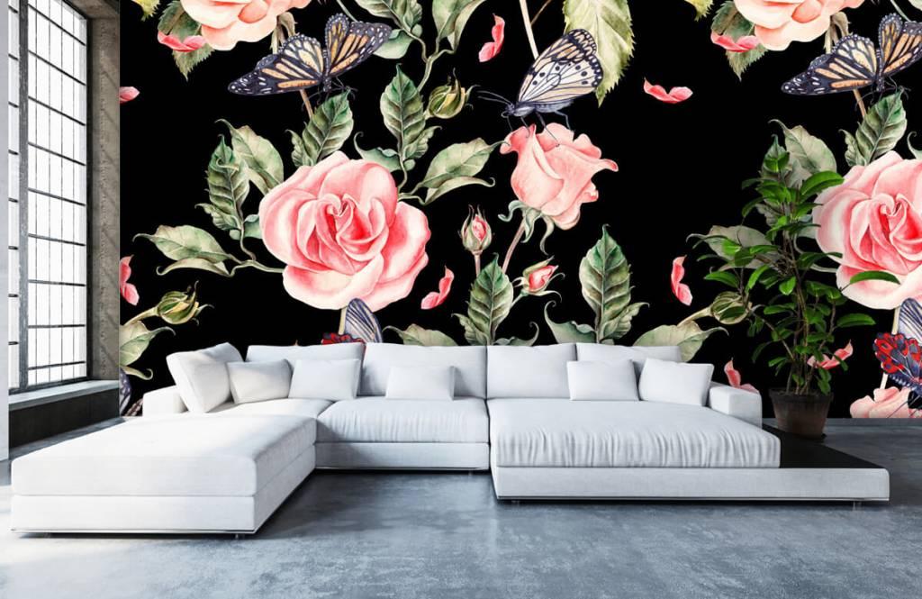 Bloemen En Vlinders Fotobehang