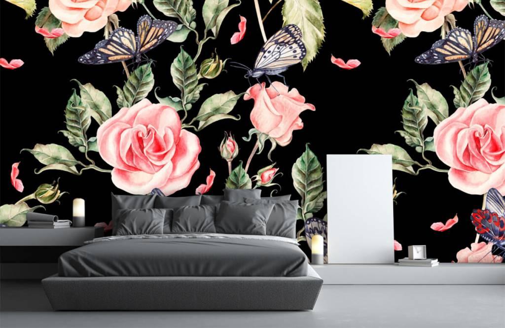 Rozen - Bloemen en vlinders van waterverf - Woonkamer 4