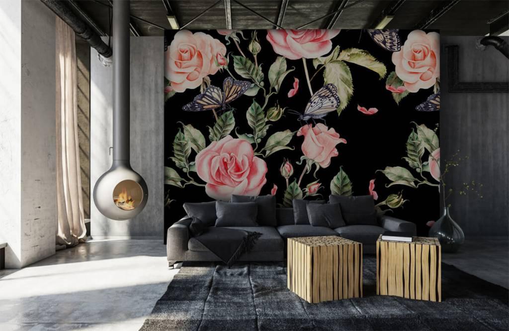 Rozen - Bloemen en vlinders van waterverf - Woonkamer 6
