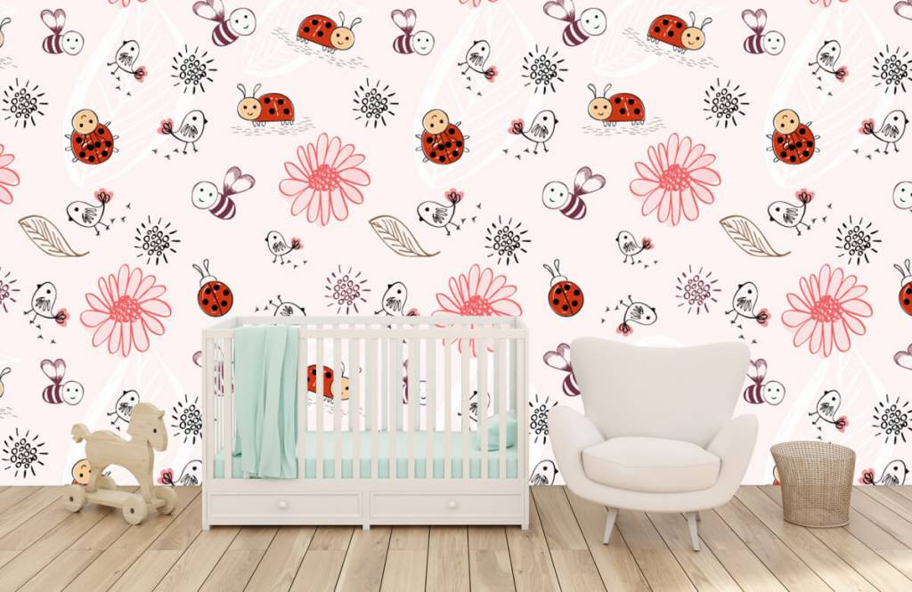 Baby behang - Bloemetjes en bijtjes - Babykamer 6