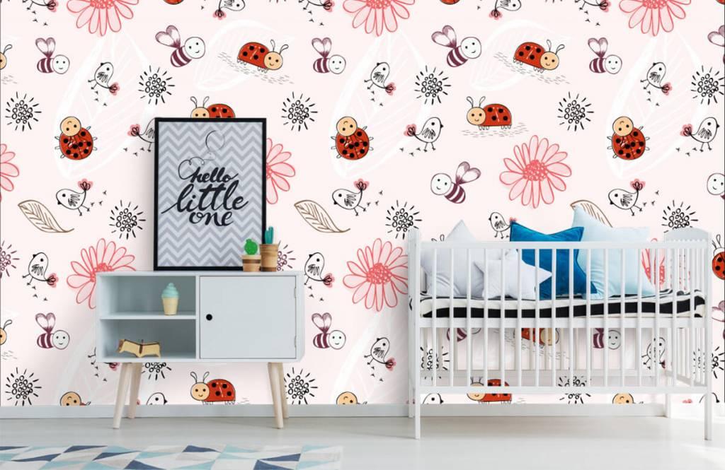 Baby behang - Bloemetjes en bijtjes - Babykamer 7