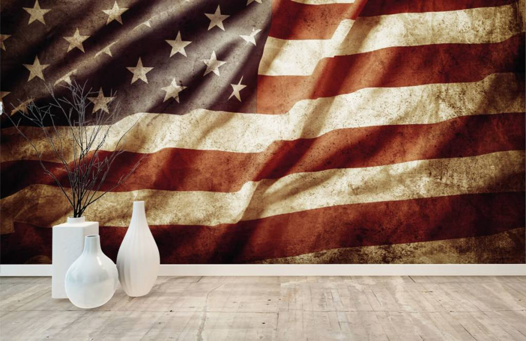 Jongensbehang - Amerikaanse vlag - Tienerkamer 8